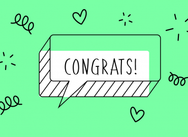 Graphic of speech bubble saying Congrats