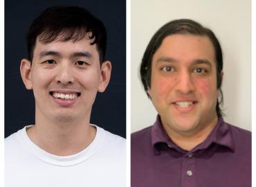 Smiling pictures of two DoSS PhD students receive U of T COVID-19 student engagement awards