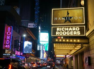 Sign for Hamilton on Broadway